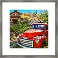 Red Pickup Truck At Santa Fe Framed Print