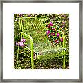Red Roses Green Chair Framed Print by Lena Auxier