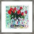 Red Roses In Water Framed Print