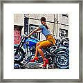 Red Shoes On A Harley Framed Print by Tony Reddington
