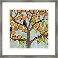 Red Winged Black Birds In A Tree Framed Print