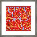 Red Yellow Blue Art Print Botanical Drawing Flowers Line Drawing Flower Botanical Print Art Botan Framed Print