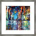 Reflections Of The Blue Rain - Palette Knife Oil Painting On Canvas By Leonid Afremov Framed Print