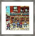 Restaurant Woodland Pizza Rue Wellington Verdun Original Hockey Art Montreal Paintings Commissions   Framed Print