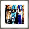 retired Kayaks Framed Print by Rebecca Adams