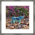 Rhino And Bougainvillea Framed Print