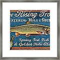 Rising Trout Sign Framed Print by JQ Licensing