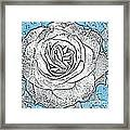 Ritzy Rose With Ink And Blue Background Framed Print
