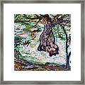 River And Plane Tree Framed Print