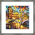 River City - Palette Knife Oil Painting On Canvas By Leonid Afremov Framed Print
