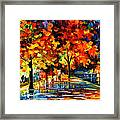 Rivershore Park - Palette Knife Oil Painting On Canvas By Leonid Afremov Framed Print