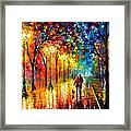 Romantic Stroll - Palette Knlfe Oil Painting On Canvas By Leonid Afremov Framed Print