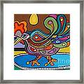 Rooster On A Platter Framed Print by Deborah Glasgow