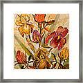 Roses And Irises Framed Print