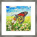 Royal Monarch Butterfly In Daisies Framed Print