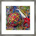 Rubber Band Ball With Sccisors Framed Print