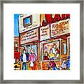 Scooting By The Main Steakhouse Authentic Montreal Paintings Prints Originals Commissions C Spandau Framed Print