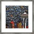 Seattle Starry Night Framed Print