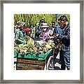 Selling Fresh Pineapple On Street In Lhasa-tibet    Framed Print