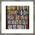 Serenity Prayer Reinhold Niebuhr Recycled Vintage American License Plate Letter Art Framed Print