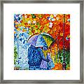 Sharing Love On A Rainy Evening Original Palette Knife Painting Framed Print