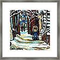 Shovelling Out After January Storm Verdun Streets Clad In Winter Whites Montreal Painting C Spandau Framed Print