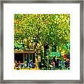 Sidewalk Cafe Rue St Denis Dappled Sunlight Shade Trees Joys Of Montreal City Scene  Carole Spandau Framed Print