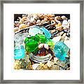 Smiley Face Beach Seaglass Blue Green Art Prints Framed Print