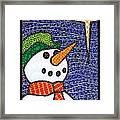 Snowman And Star Framed Print