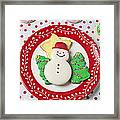 Snowman Cookie Plate Framed Print