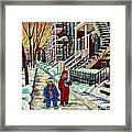 Snowy Day Rue Fabre Le Plateau Montreal Art Winter City Scenes Paintings Carole Spandau Framed Print
