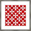 Spice Twirl- Red And White Pattern Framed Print by Linda Woods