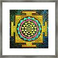 Sri Yantra Gold And Stars Framed Print