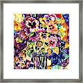 Stained Glass Pansies Framed Print