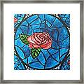 Stained Glass Roses Framed Print
