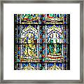Stained Glass Window Of Santa Maria Del Fiore Church Florence Italy Framed Print