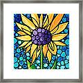 Standing Tall - Sunflower Art By Sharon Cummings Framed Print