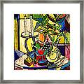 Still Life With Fruit Candles And Bamboo Framed Print