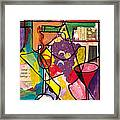 Still Life With Wine And Fruit B Framed Print by Everett Spruill