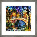 Stone Bridge - Palette Knife Oil Painting On Canvas By Leonid Afremov Framed Print