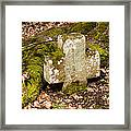 Stone Cross In The Forest Framed Print