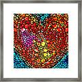 Stone Rock'd Heart - Colorful Love From Sharon Cummings Framed Print
