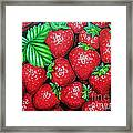 Strawberries Painting Oil On Canvas Framed Print by Drinka Mercep