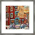 Street Hockey Practice Wilensky's Diner Montreal Winter Street Scenes Paintings Carole Spandau Framed Print