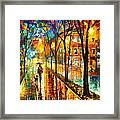 Stroll With My Best Friend - Palette Knife Oil Painting On Canvas By Leonid Afremov Framed Print