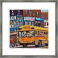 St.viateur Bagel And School Bus Montreal Urban City Scene Framed Print