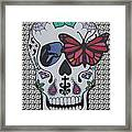 Sugar Candy Skull Pattern Framed Print