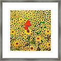 Sun Flowers Field With Two Hearts Forever Connected By Love Framed Print