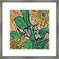 Sunflowers And Irises Framed Print