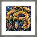Sunflowers Bouquet In Vase Framed Print